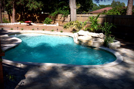 Residential Pool and Deck with 4' Ledger Waterfall
